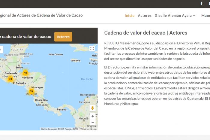 Nuevo directorio virtual de actores de cacao en Centroamérica