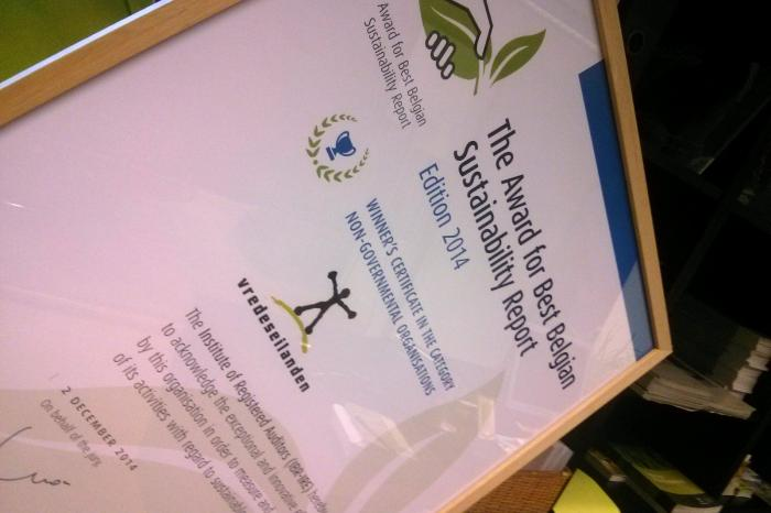 Vredeseilanden wint Award for Best Belgian Sustainability Report