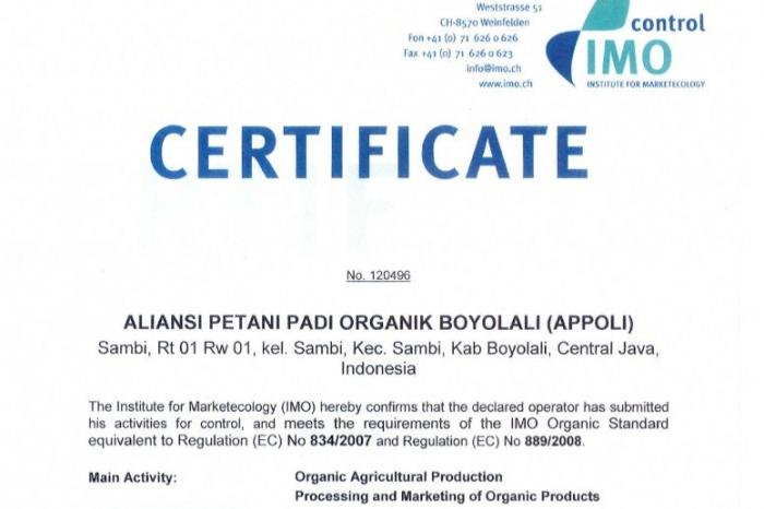 Appoli gets organic rice certification from IMO
